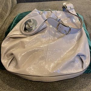 COACH grey patent leather hobo bag
